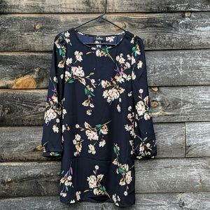 Lulu's Long Sleeve Navy Blue Floral Swing Dress